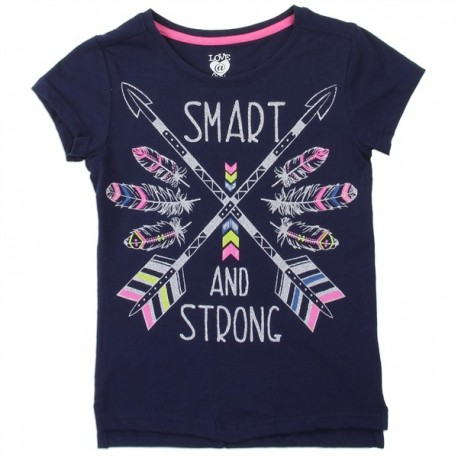 Love At First Sight Smart and Strong Navy Blue Shirt And Scarf Houston Kids Fashion Clothing Store