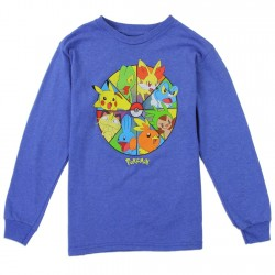 Poemon Pikachu And Friends Long Sleeve Blue Shirt Houston Kids Fashion Clothing