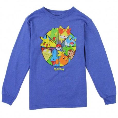 Poemon Pikachu And Friends Long Sleeve Blue Shirt Houston Kids Fashion Clothing