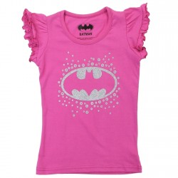 DC Comics Batgirl Silver Bat Signal Pink Shirt With Ruffle Sleeves Houston Kids Fashion Clothing