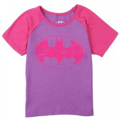 DC Comics Batgirl Pink Bat Signal On Purple Toddler Girls Shirt Houston Kids Fashion Clothing
