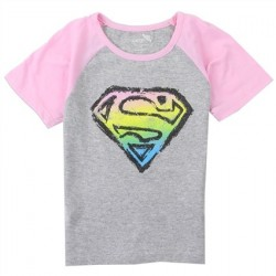 DC Comics Supergirl Shield Grey And Pink Short Sleeve Shirt