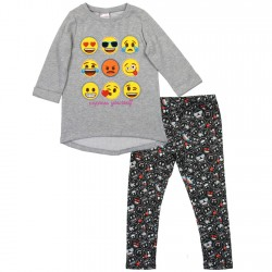 Emoji Express Yourself Grey Long Sleeve Fleece Top And Black Leggings Houston Kids Fashion Clothing Store