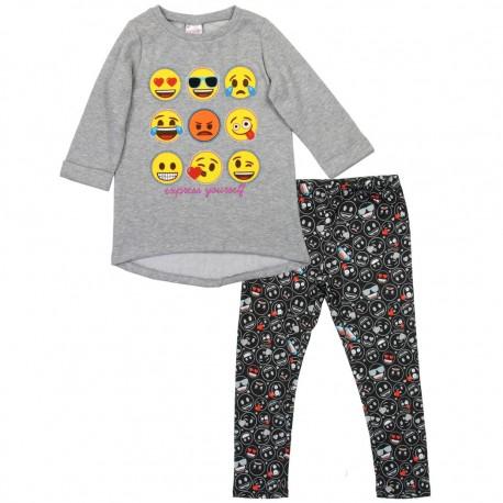 Emoji Express Yourself Grey Long Sleeve Fleece Top And Black Leggings Houston Kids Fashion Clothing Store