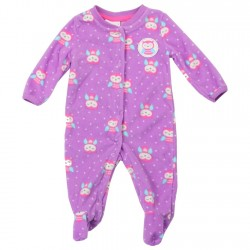Buster Brown Purple Baby Girls Microfleece Coverall Footed Sleeper