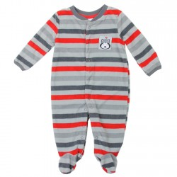 Buster Brown Grey And Red Striped Microfleece Footed Coverall Houston Kids Fashion Clothing