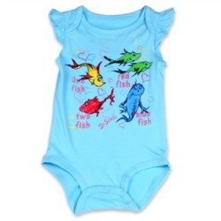 Dr Seuss One Fish Two Fish Blue Onesie