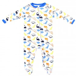 Weeplay Dinosaur Print Zip Down The Front Infant Footed Sleeper Houston Kids Fashion Clothing