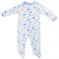 Weeplay Construction Equipment Print Zip Down The Front Infant Footed Sleeper