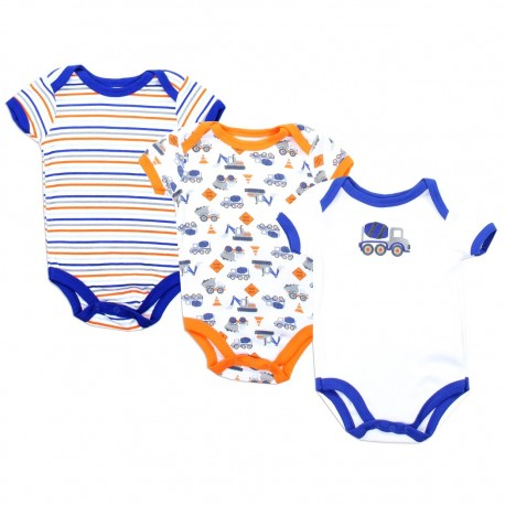Weeplay Construction Equipment 3 Pack Onesie Set Houston Kids Fashion Clothing