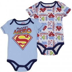 DC Comics Superman Mommy's Hero Light Blue Onesie And White Superman In Training Onesie