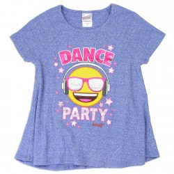 Emoji Dance Party Blue Girls Shirt Houston Kids Fashion Clothing Store