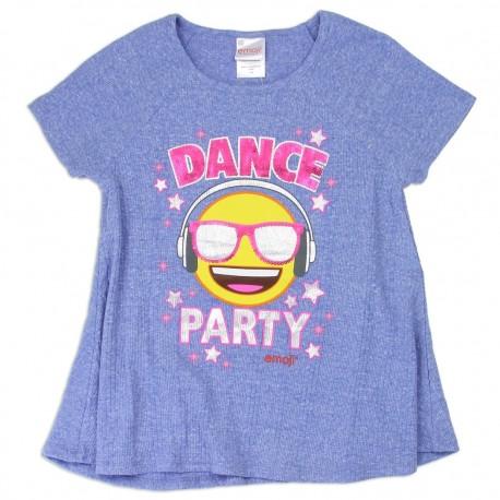 Emoji Dance Party Blue Girls Shirt Houston Kids Fashion Clothing Store