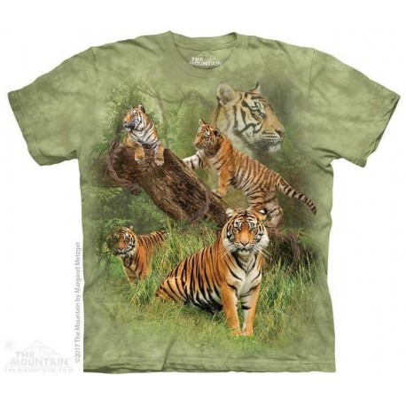 The Mountain Wild Tiger Collage By Margret Metzger Short Sleeve Boys Shirt Houston Kids Fashion Clothing Store
