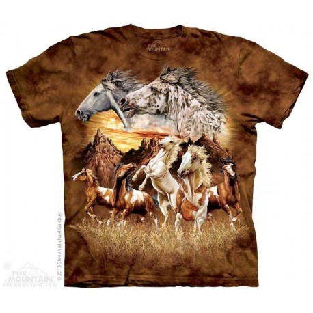The Mountain Artwear 15 Horses Hidden Image Girls Shirt Houston Kids Fashion Clothing Store