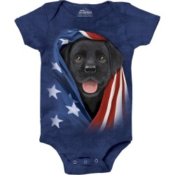 The Mountain Artwear Patriotic Black Lab Pup Baby Onesie