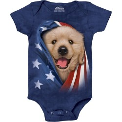 The Mountain Artwear Patriotic Golden Pup Baby Onesie