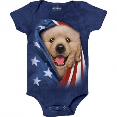 The Mountain Artwear Patriotic Golden Pup Baby Onesie Houston Kids Fashion Clothing Store