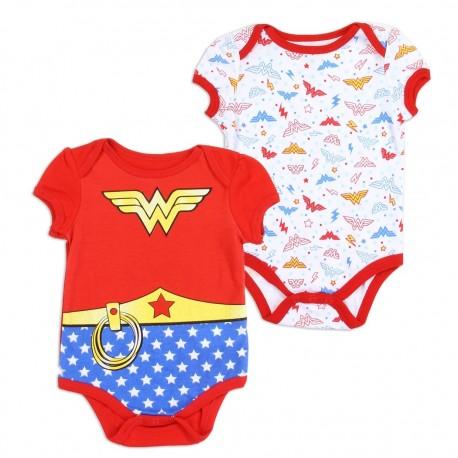 DC Comics Wonder Woman Infant Girls 2 Pack Onesie Set Houston Kids Fashion Clothing Store