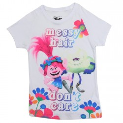 Dreamworks Trolls Messy Hair Don't Care Girls Shirt