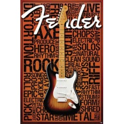 Fender Guitar Wall Poster Houston Kids Fashion Clothing Store