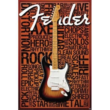 Fender Guitar Wall Poster Houston Kids Fashion Clothing Store