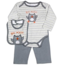 Kathy Ireland Big Hoot Grey 3 Piece Set Houston Kids Fashion Clothing Store The Woodlands Texas