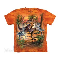 The Mountain Dinosaur Battle Short Sleeve Youth Shirt