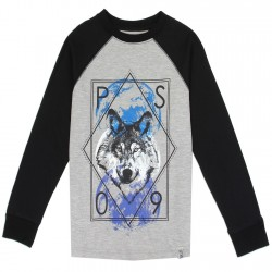 PS From Areopostale Wolf Long Sleeve Boys Shirt