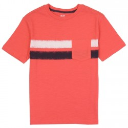 PS From Aeropostale Red Pocket Tee With A Black And White Stripe
