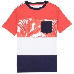 PS From Aeropostale Red White Ad Blue Broad Striped Boys Pocket Tee