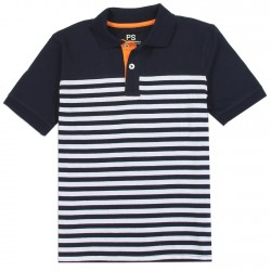 PS From Aeropostale Navy Blue and White Striped Boys Polo Shirt