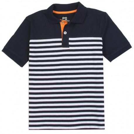 PS From Aeropostale Navy Blue and White Striped Boys Polo Shirt Houston Kids Fashion Clothing Store