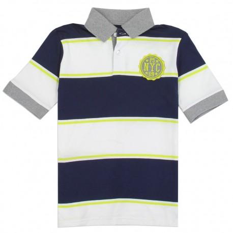 PS From Aeropostale PSNYC Navy Blue and White Striped Boys Polo Shirt Houston Fashion Clothing Store
