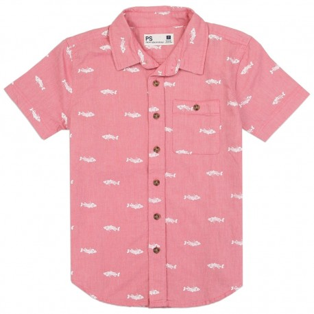PS From Aeropostale Boys Button Down Shirt With Front Pocket Fishes Printed All Over Houston Kids Fashion Clothing Store