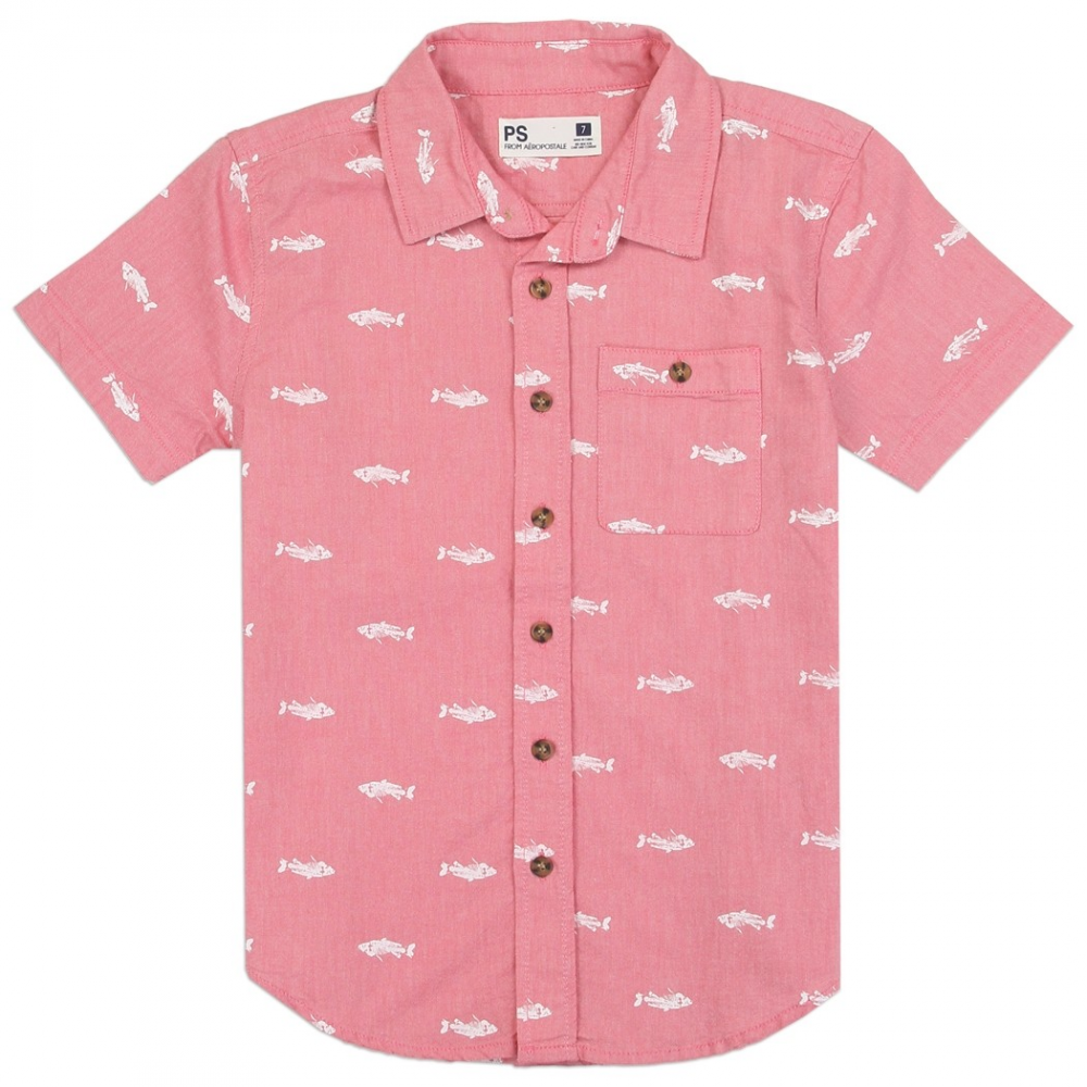 f7eac790 PS From Aeropostale Boys Button Down Shirt With Front Pocket Fishes Printed  All Over Houston Kids. Loading zoom