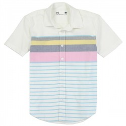 PS From Aeropostale Boys Button Down Shirt With Multi Color Stripes