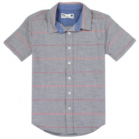 PS From Aeropostale Grey Boys Button Down Shirt With Front Pocket Houston Kids Fashion Clothing Store