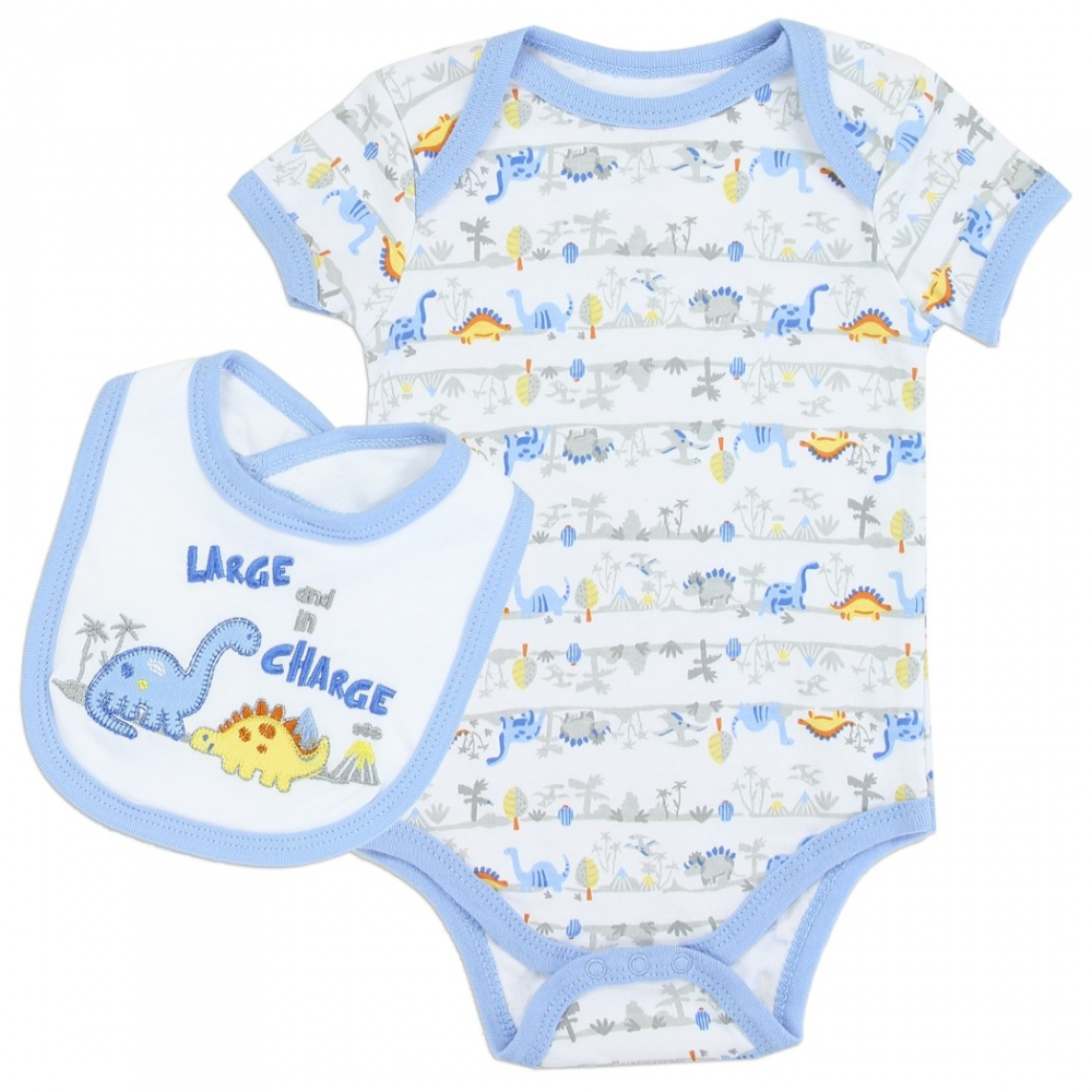 57ffe6a6c Weeplay Large And In Charge Dinosaur Onesie And Bib Infant 2 Piece Set  Houston Kids Fashion. Loading zoom