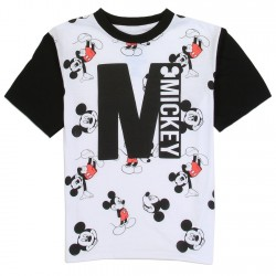 Disney Mickey Mouse All Over Print White and Black Toddler Boys Short Sleeve T Shirt Houston Kids Fashion Clothing