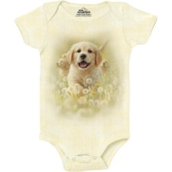 The Mountain Artwear Golden Puppy Baby Onesie