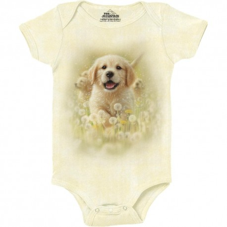 The Mountain Artwear Golden Puppy Baby Onesie Free Shipping Houston Kids Fashion Clothing Store