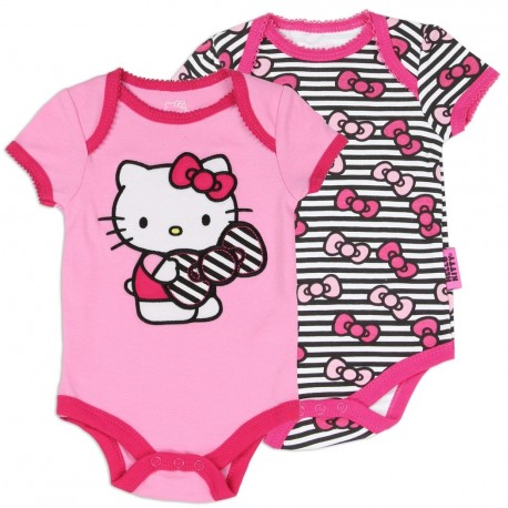 Hello Kitty Pink Creeper And Black And White Striped Bow Creeper 2 Pc Set Houston Kids Fashion Clothing Store