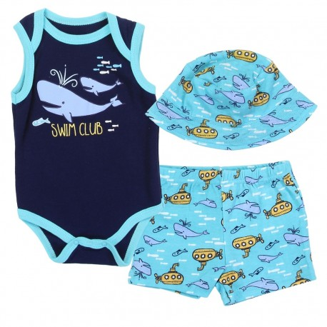 a8c9e6641 Weeplay Baby Boys Swim Club 3 Piece Short Set Yellow Submarine Sun Hat and  Short Free