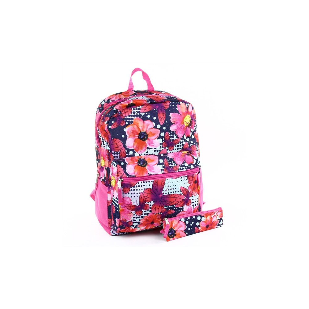 2fad7d6187 Confetti Floral Print Girls Backpack With Matching Pencil Case Free  Shipping Houston Kids Fashion Clothing. Loading zoom