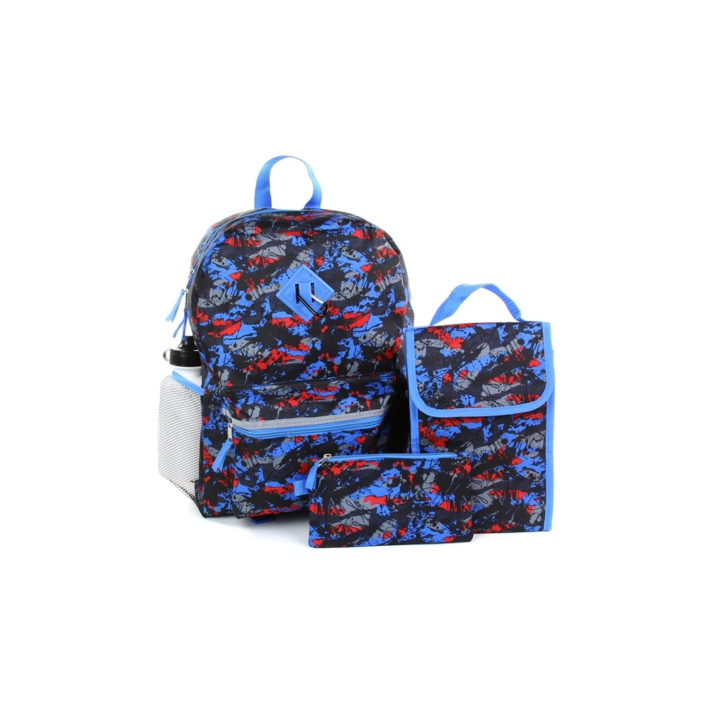 a02d0fd85395 Reboot Black And Blue Paint Splatter 5 Piece School Backpack Set Free  Shipping Houston Kids Fashion. Loading zoom