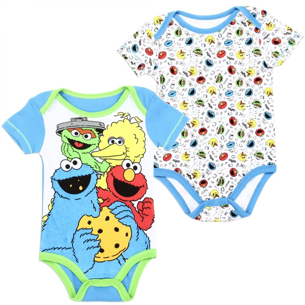 017bf7549 Sesame Street Baby Boys Onesie Set with Big Bird Cookie Monster Elmo Oscar  Free Shipping Houston. Loading zoom