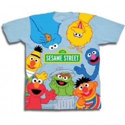 267114d38 Sesame Street Cast Of Characters Toddler Boys Shirt Free With Big Bird Cookie  Monster Elmo Burt