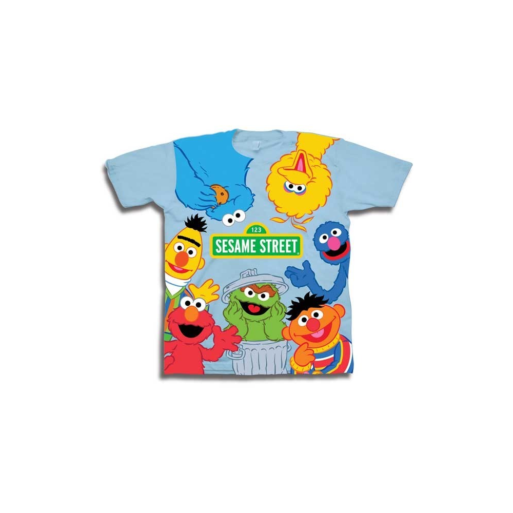 65a249b4 Sesame Street Cast Of Characters Toddler Boys Shirt Free With Big Bird  Cookie Monster Elmo Burt. Loading zoom