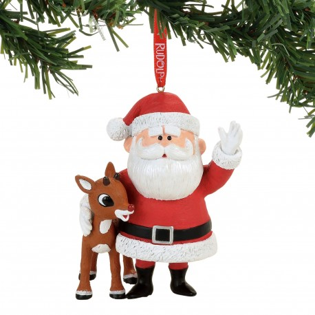 rudolph the red nosed reindeer and santa claus christmas ornament